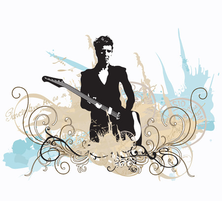 Illustration of a guitarist and decorative patterns Illustration