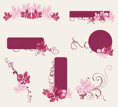 Set of design elements with flowers Vector