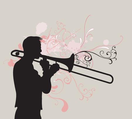 trombon: Ilustración de un hombre tocando trombón