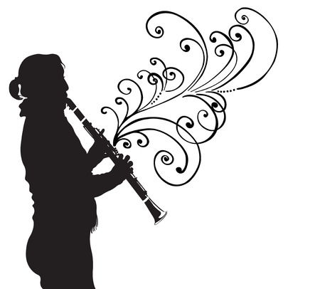 clarinet: Illustration of a woman playing clarinet