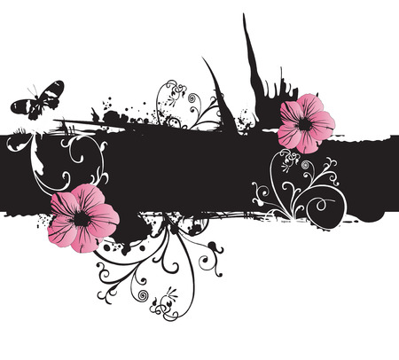 Illustration of flowers on a grungy background