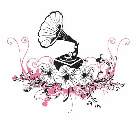 Illustration of a gramophone and floral patterns Illustration
