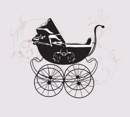 cochecito de bebe: Ilustraci�n de un cochecito retro