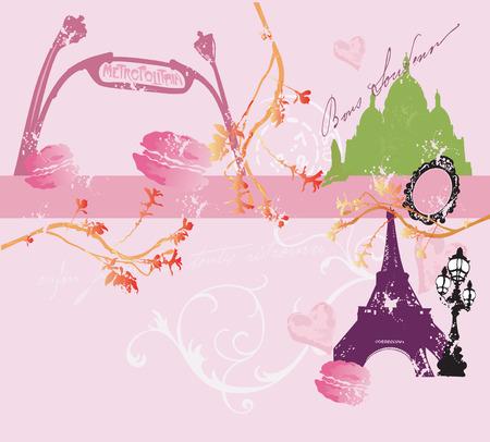 マカロン: エッフェル塔、パリの建物のイラスト