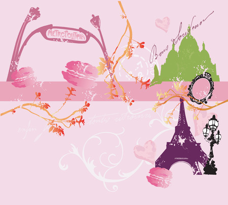 montmartre: Illustration of the Eiffel Tower and parisian buildings Illustration