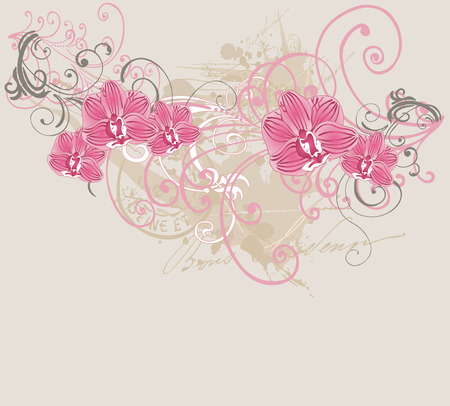 grungy background: Illustration of orchids on a grungy background