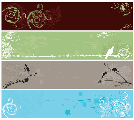 Set of decorative banners with grungy patterns Stock Vector - 5298500