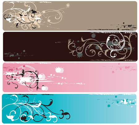 Set of banners with grungy patterns Vector