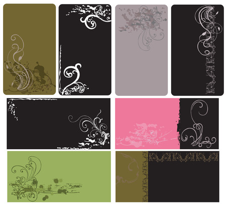 Set of business cards with grungy patterns Vector