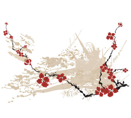sakuras: Ilustraci�n de flores de sakura en un fondo grunge Vectores
