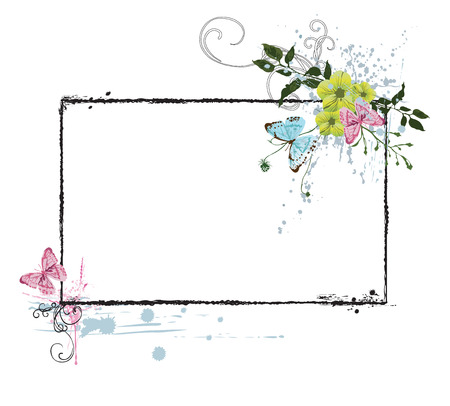 butterflies and flowers: Illustration of a retro frame with flowers and butterflies
