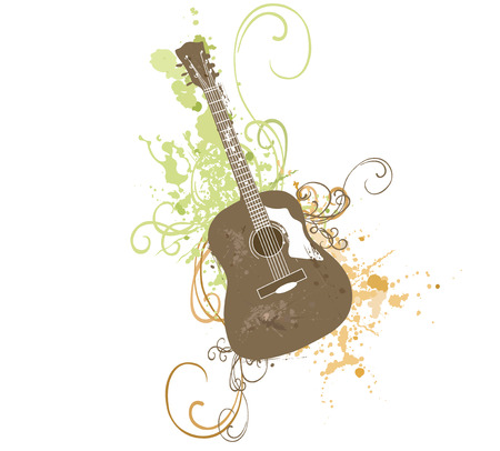 grungy background: Illustration of a guitar on a grungy background