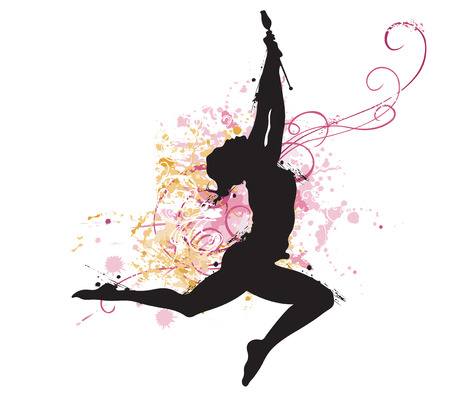 Illustration of a gymnast on a grungy background Vector