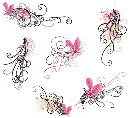 phalaenopsis: Set of retro design elements
