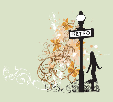 subway: Illustration of a female silhouette and decorative patterns Illustration