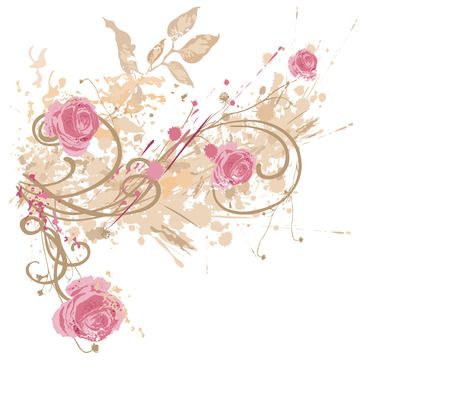 grungy background: Illustration of roses on a grungy background