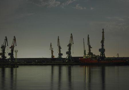 Baku port at night photo