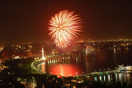 azerbaijan: Fireworks on Independence Day in Baku, Azerbaijan