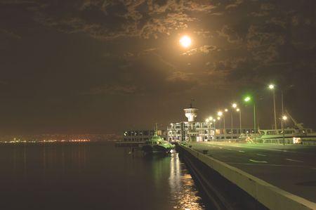 baku: Yacht club at night in Baku, Azerbaijan Stock Photo