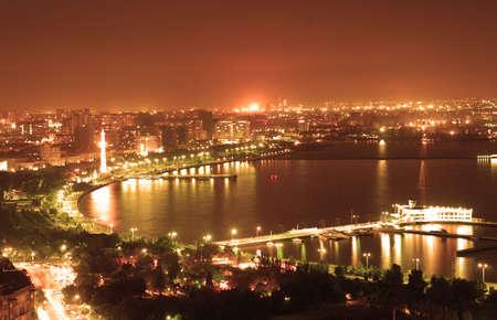 baku: Baku city at night Stock Photo