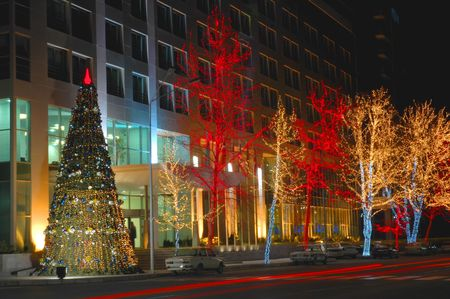 azerbaijan: Christmas tree and trees decorated with lights in Baku, Azerbaijan