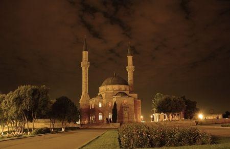 baku: Mosque with two minarets in Baku, Azerbaijan at sunset