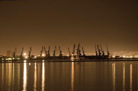 Baku seaport at night photo