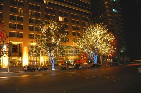 �rbol de Navidad y los �rboles decorados con luces en Bak�, Azerbaiy�n  Foto de archivo - 496125