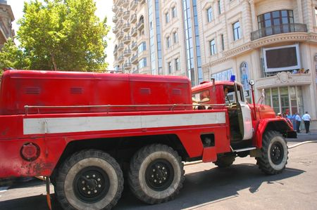Firetruck in the city photo