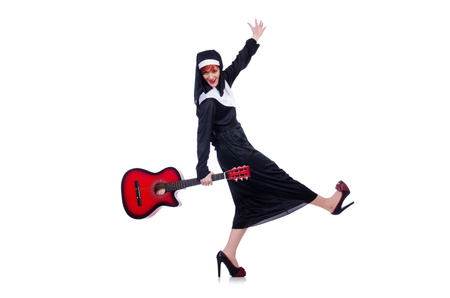 Nun playing guitar isolated on white Stock Photo - 21077729