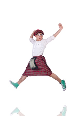 Funny scotsman isolated on the white Stock Photo - 21107097