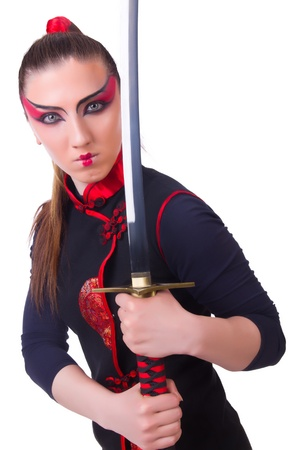 Woman in japanese martial art concept photo