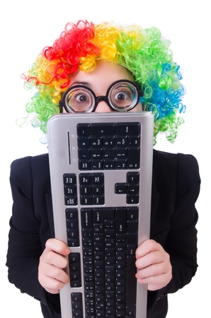Funny clown with keyboard on white Stock Photo - 21029445