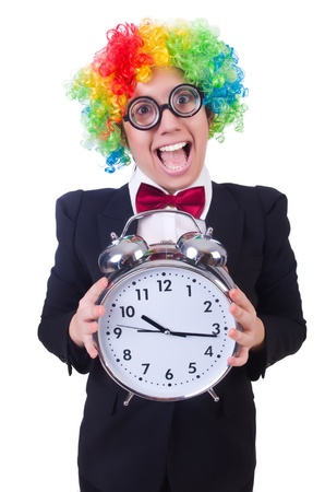 Funny clown with clock on white Stock Photo - 21029446