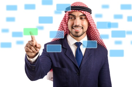Arab man pressing virtual buttons photo