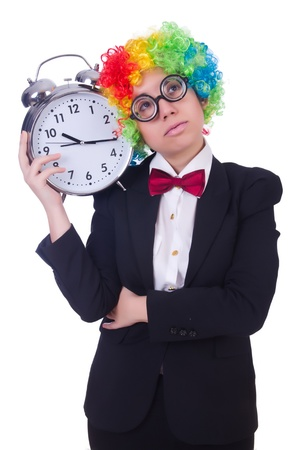 Funny clown with clock on white Stock Photo - 21029462