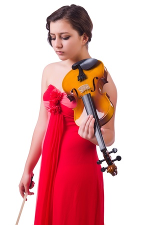 Young girl with violin on white Stock Photo - 21085622