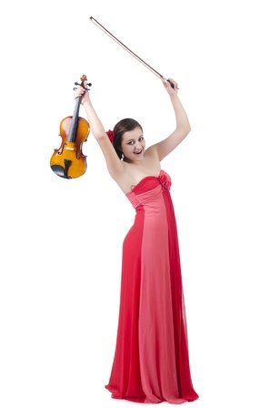 concerto: Young girl with violin on white Stock Photo
