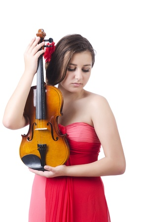Young girl with violin on white Stock Photo - 21085634