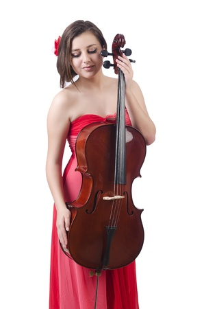 Young girl with violin on white Stock Photo - 21085642