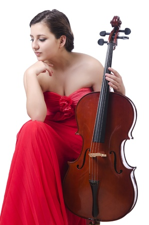 Young girl with violin on white Stock Photo - 21085644