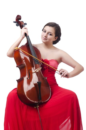 Young girl with violin on white Stock Photo - 21085646