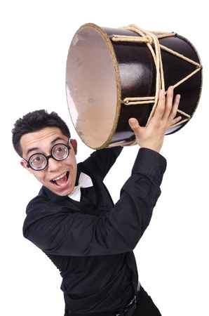 Funny man with drum on white Stock Photo - 21085669