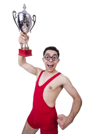Funny wrestler with winners cup Stock Photo - 21029493