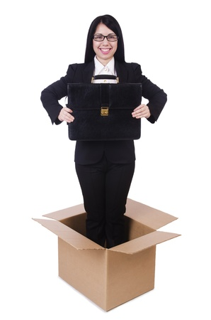 thinking out of the box: Businesswoman in thinking out of box concept Stock Photo