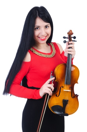 fiddlestick: Young girl with violin on white Stock Photo