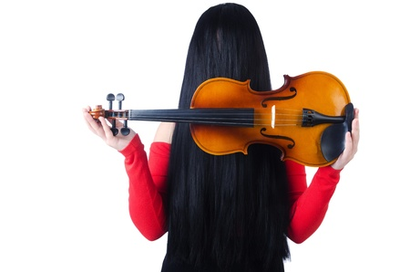 Young girl with violin on white Stock Photo