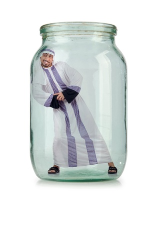 suffocating: Arab businessman in glass jar Stock Photo