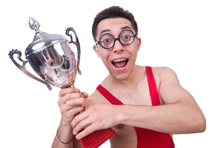 Funny wrestler with winners cup Stock Photo - 21029562