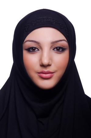 religious clothing: Muslim young woman wearing hijab on white